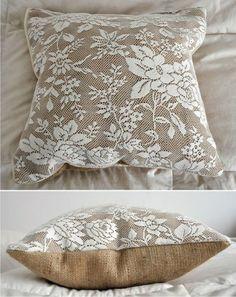 Lace and burlap Sewing Pillows, Diy Pillows, Decorative Pillows, Cushions, Throw Pillows, Burlap Crafts, Fabric Crafts, Sewing Crafts, Sewing Projects