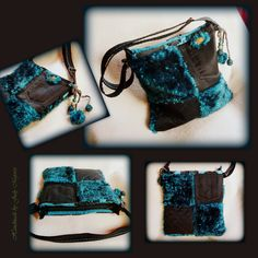 Handmade by Judy Majoros- Turquoise-black faux fur Bag Fur Bag, Faux Fur, Turquoise, Desserts, Handmade, Bags, Food, Tailgate Desserts, Handbags