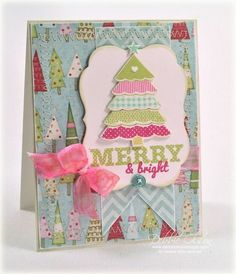 Paper:  Be Merry, MME; Stamps: Polka Dot Parade #9 Mini 2724 $5 & Mat Stack 4 Collection 2298 $24, Papertrey Ink; Dies: Polka Dot Parade #9 PTD-0467 $4, Papertrey Ink; CS: Rustic White; Papertrey Ink: Kraft, Raspberry Fizz, Spring Moss, Aqua Mist, Hibiscus Burst; Ocean Tides Vintage Buttons, Glue Pen, Prisma Glitter, Seam Binding, Sewing Machine