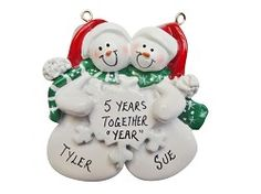 Personalized Snow Couple Ornament Snuggled with Snowflake