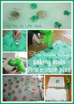 A fun and simple baking soda St Patricks Day science activity for early learning play! Work on fine motor skills too for a St Patricks Day fine motor idea.