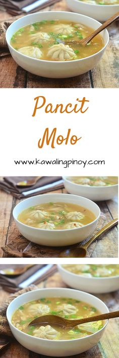 Pancit Molo is a traditional Filipino soup made with meat-filled dumplings, shredded chicken and a homemade broth; garnished with green onions and fried garlic bits for another layer of flavor