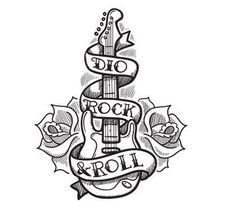 "I would totally get this as a tattoo only on the ribbon it would say "" i love rock and roll"" and have the guitar look exactly like mine....hmmm this is very tempting."