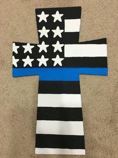 Support police cross door hanger. #blue #bluestripe #doorhanger