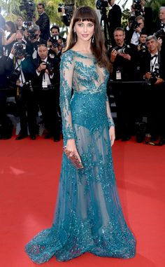 Fashion Sexy Blue Evening Dress  Frederique Bell Dress To Red Carpet Slim Beaded Scoop Neck Long Sleeve Formal Pageant Gown LZ