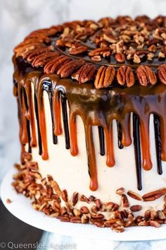 This Turtle Chocolate Layer Cake starts with rich, decadent and moist chocolate cake layers that are filled with a caramel pecan sauce and covered in a smooth caramel frosting, then finished off with a caramel and ganache drip and chopped pecans! Layer Cake Recipes, Dessert Recipes, Sweets Recipe, Recipe Recipe, Layer Cakes, Food Cakes, Cupcake Cakes, Gourmet Cakes, Chocolate Turtles