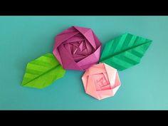 折 り 紙 Origami バ ラ の 花 と 葉 簡 単 な 折 り 方 – Origami Community : Explore the best and the most trending origami Ideas and easy origami Tutorial Origami Rose, Gato Origami, Origami Leaves, Origami Cards, Origami Paper Art, Diy Paper, Paper Crafts, Bullet Journal Diy, Origami Videos