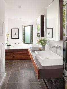Rustic wood in bathroom  floating vanity in bathroom albaworks