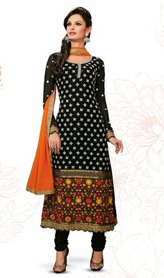 Black Georgette Long Length Churidar Suit Look scintillating like a poets rapture donned in this black georgette long length churidar suit. You could see some intriguing patterns performed with lace, multi, patch, polka dotted and resham work.  #PakistaniSalwarKameez #AnarkaliChuridarSuits