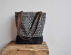 Triangle Covered Tote Bag with leather straps and geometric pattern!