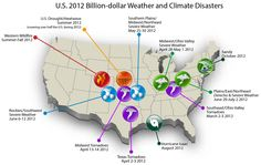 This map shows the 11 billion-dollar weather and climate disasters that hit the United States in 2012.