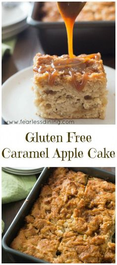 This easy Gluten Free Caramel Apple Cake is full of fresh caramel apple flavor. This gluten free cake recipe is perfect for fall. Gluten Free Sweets, Gluten Free Cakes, Gluten Free Cooking, Dairy Free Recipes, Gluten Free Apple Cake, Gf Recipes, Simple Recipes, Christmas Gluten Free Desserts, Gluten And Dairy Free Desserts Easy
