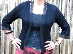 Cotton & Lace  Kebaya style top Genuine handmade by LinenStudioB