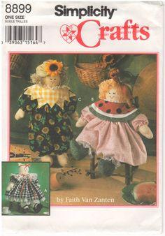 1994 - Simplicity 8899 Vintage Sewing Pattern Crafts Stuffed Animal Doll Boy Girl Cat Clothes Sunflower Watermelon Faith Van Zanten