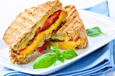 Grown-up grilled cheese from Sparkpeople.com! 374 calories per sandwich. By the way, this site is amazing too...if you're looking to lose weight, maintain weight, or eat healthier foods, you should check it out! :)