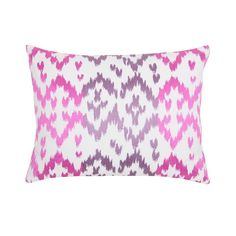Inspired by the motif made infamous throughout South America, our attractive Ikat pillow is at once modern and established. Unlike the conventional style, this design is embroidered in Orchid and Elderberry over a Pale Grey linen/cotton blend.  ,Ikat Orchid 12X16 Pillow, Blissliving Home, Beachy, Pillow