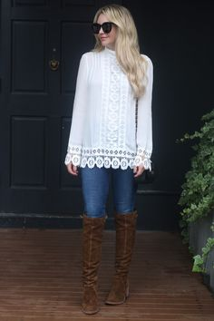 6e43642e1f TOP favorite boots of the season all on sale including these brown over the  knee boots. Love it paired with this white top with lace detail.