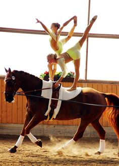 Amazing balance and coordination skills in equestrian vaulting competition Horse Girl, Horse Love, Trick Riding, Types Of Horses, American Quarter Horse, Horse Photos, Horse Barns, Equestrian Style, Vaulting