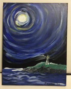 Lighthouse Under Moon by PaintingsbyTeri on Etsy