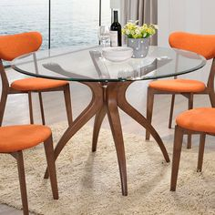 Twilight Glass Dining Table - Sure to serve as the shining star—day or night—in your dining area, the Twilight Glass Dining Table from the Inmod Signature Collection displays . Glass Round Dining Table, Walnut Dining Table, Dining Room Bar, Glass Table, Dining Tables, Dining Area, Bar Furniture, Kitchen Furniture, Contemporary Dining Room Sets