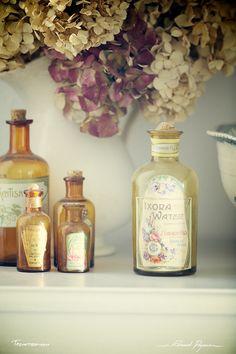 D'antan | Of yesteryear: http://tazintosh.com #FocusedOn #Photo #Bouteille #Bottle #Canon EF 180mm f/3.5L Macro USM #Canon EOS 5D Mark II #Cruche #Pitcher #Étiquette #Label #Flacon #Flask #Hortensia #Hydrangea macrophylla #Hydrangea #Traitement croisé #Cross processing