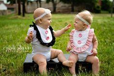 Baby Bibs Kids Clothing - TWO Girl Ruffle Bibs, TWINS -CUSTOM Colors, Ruffled, Ruffles Ribbon. $29.98, via Etsy.