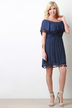 Tassel Ruffle Off-The-Shoulder Dress