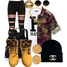 unknown by nasiaswaggedout on Polyvore featuring Forever 21, Timberland, Victoria's Secret, Ben-Amun, Chanel and Moscot