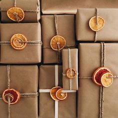 I've had a tray of dehydrated fruit sitting on our counter for the last week that honestly was probably never going to make it into garland (because so I used it for last minute wrapping instead! Thanks for the idea Christmas 2019, Simple Christmas, Christmas Crafts, Homemade Christmas, Natural Christmas Decorations, Christmas Ideas, Modern Christmas, Scandinavian Christmas, Christmas Paper