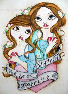 Sister Art Print - Tattoo Art - Fantasy Girl Art - Love - Sister Wall Art - Big Eye Art - Pop Surreal Art - Sister Decor - Ready to Hang Sisters Art, Soul Sisters, Twin Sisters, Little Sisters, Love My Sister, Big Sis, Painting Tattoo, Tattoo Art, Sisters Forever