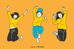 Young people jumping in korean drawing style Free Vector Body Action, Kids Artwork, Vector Free Download, Logo Food, Graphic Design Posters, Drawing Style, Young People, Korean, Teen