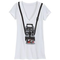 V-Neck Camera Minnie and Mickey Mouse Tee for Women [$14.99, Sale: was 24.50]