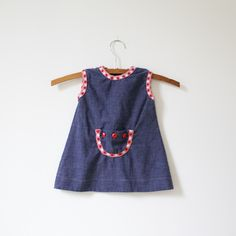 Vintage Mod Denim Dress with Pocket (12 months). $8.50, via Etsy.