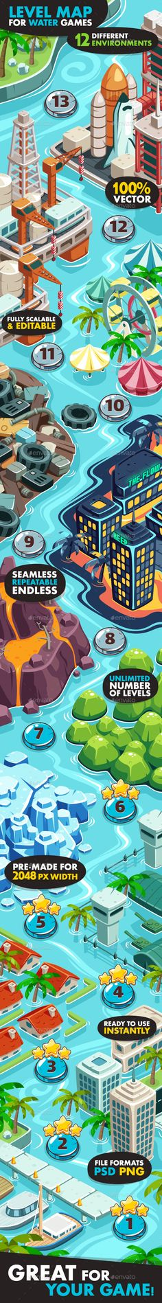 Game Level Map for Water Games - Miscellaneous Game Assets