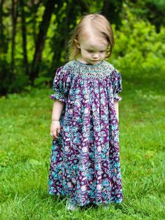 Agatha Girls Paisley Fall Bishop Dress with Smocking – Carousel Wear