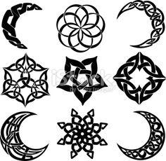 Celtic knot moons, stars, shapes Royalty Free Stock Vector Art Illustration - I like the bottom right