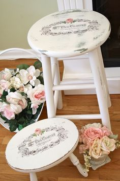 the cutest shabby stools using water slide decal technique by the polka dot closet!
