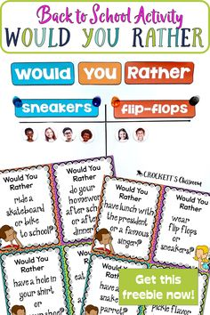 Fun Classroom Games, Classroom Organization, Classroom Management, Get To Know Me, Getting To Know You, First Day Of School Activities, School Resources, Back To School Worksheets, Would You Rather Questions