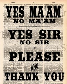 Vintage Dictionary Southern Manners Print - Yes Maam, Please and Thank You etc.