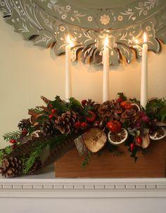 Christmas mantle piece arrangement.