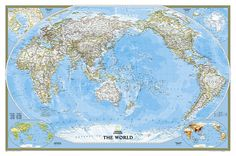 World, Classic, Pacific-Centered Wall Map by National Geographic Society