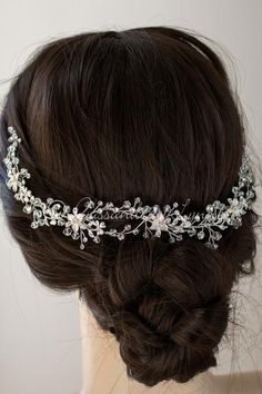 Dozens of round cut rhinestones and crystal beads travel along this wedding  hair vine with silver 36212bebd563