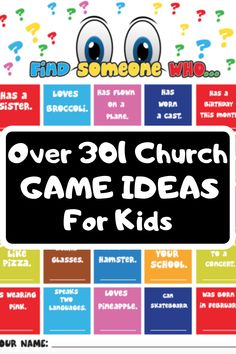 Church Game Ideas For Kids - Find over 301 Sunday School Games for kids that you can play in church this Sunday. Kids Church Games, School Games For Kids, Kids Church Lessons, Games To Play With Kids, Sunday School Activities, Lessons For Kids, Children Church, Sunday School Curriculum, School Ideas