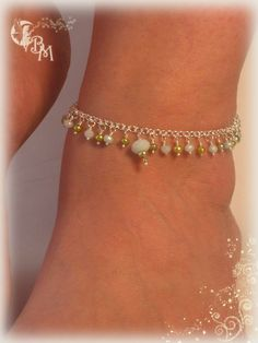 Amazonite and Green Pearl Beaded Anklets