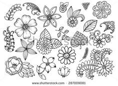 Drawing Doodles Ideas Vector set of doodle flowers More - Doodle Designs, Doodle Patterns, Zentangle Patterns, Flower Patterns, Zentangles, Doodle Drawings, Doodle Art, Doodle Images, Coloring Books