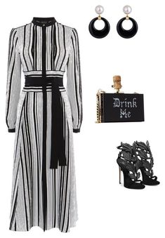 """black &white"" by cristina-2017 on Polyvore featuring Karen Millen and Giuseppe Zanotti"