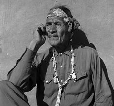 """Navajo Thinking Man (1955)  """"I am sitting outside my hogan.  I am thinking,  Looking at the red rocks,  the ridges, the sheep,  the plants,  and all in my world.  I am thinking  What it will be like here  In the Future.""""    Thomas Littleben, Rock Point Community School, Rock Point, Arizona"""