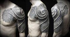 Awesome Mandala Dotwork Tattoo On Left Half Sleeve