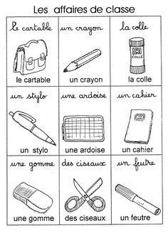 Affaires de classe, school items. You should learn some French before you can be au pair in France.
