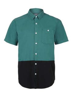 Green And Black Cut And Sew Short Sleeve Shirt - Mens Shirts  - Clothing